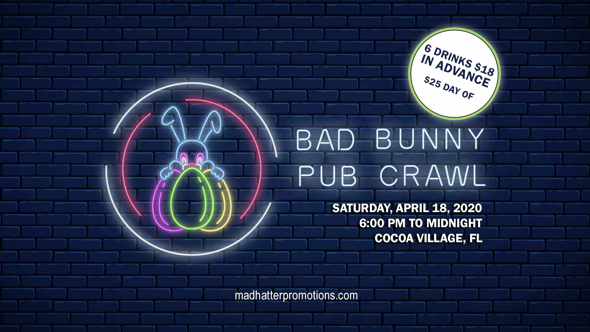 2020 Bad Bunny Easter Pub Crawl Cocoa Village Saturday April 18 6:00pm to Midnight