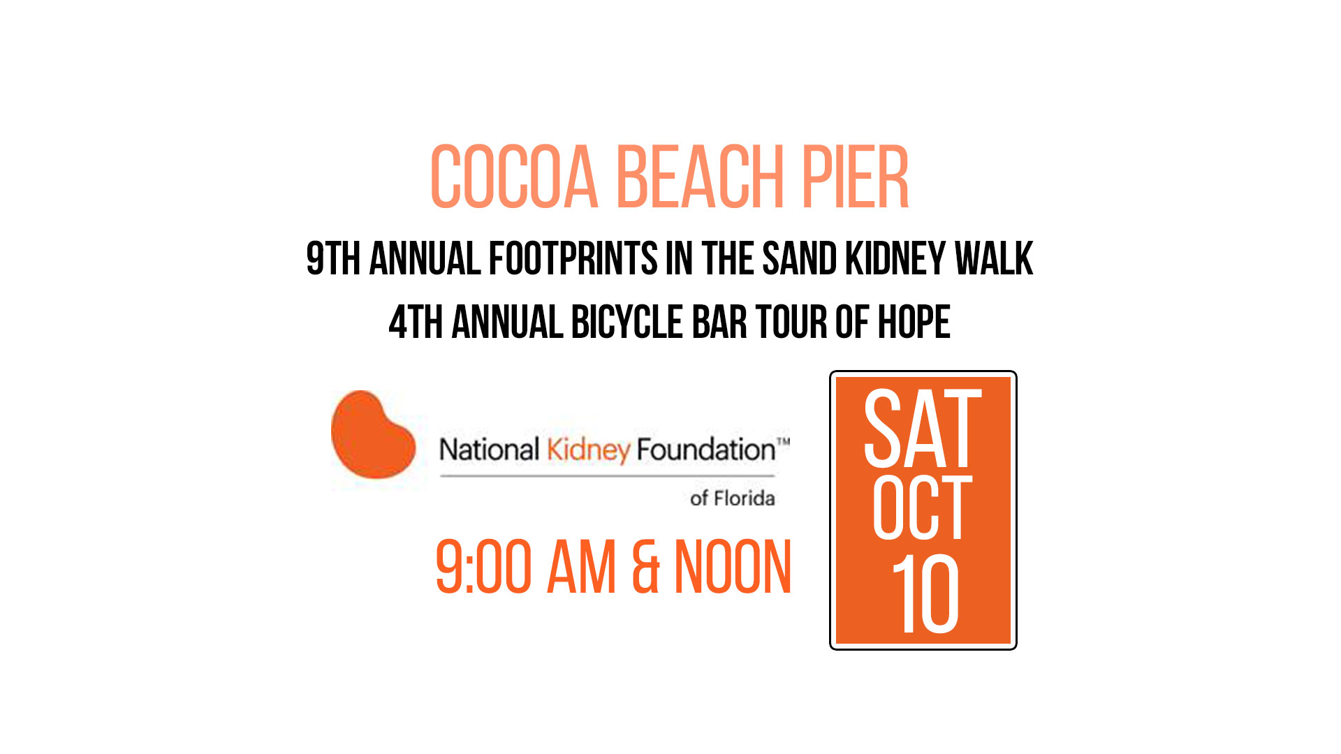 9th Annual Footprints in the Sand Kidney Walk and the 4th Annual Bicycle Bar Tour of Hope