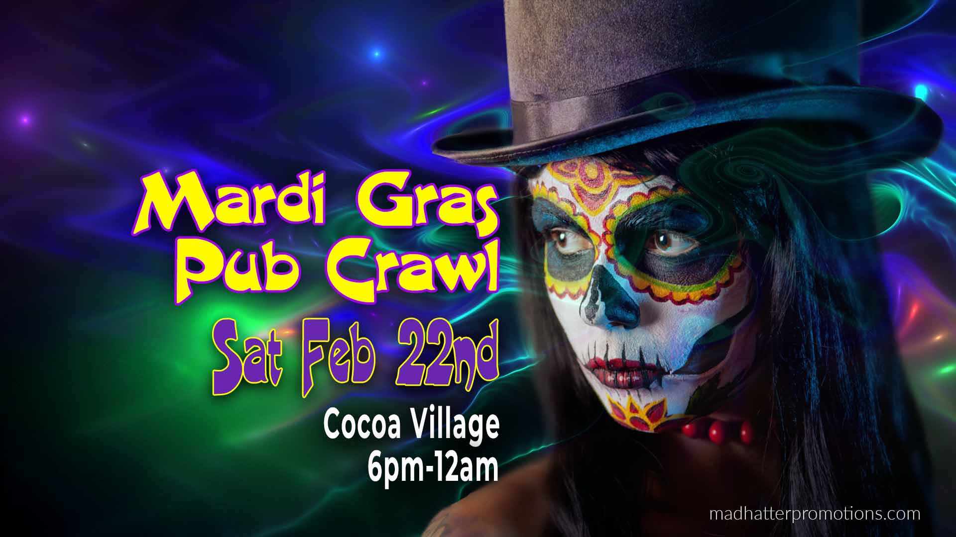 2020 Mardi Gras Pub Crawl Historic Cocoa Village, Saturday, February 22, 2020 – 6:00 pm to midnight