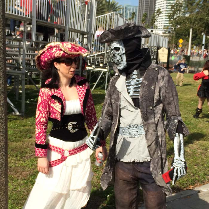 Gasparilla Pirate Fest road trip picture showing guests of Mad Hatter Promotions