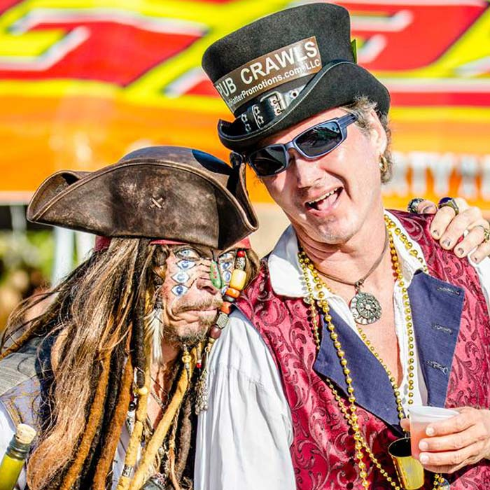 Gary Haas and guest dressed as Captain Jack Sparrow at Gasparilla Pirate Fest