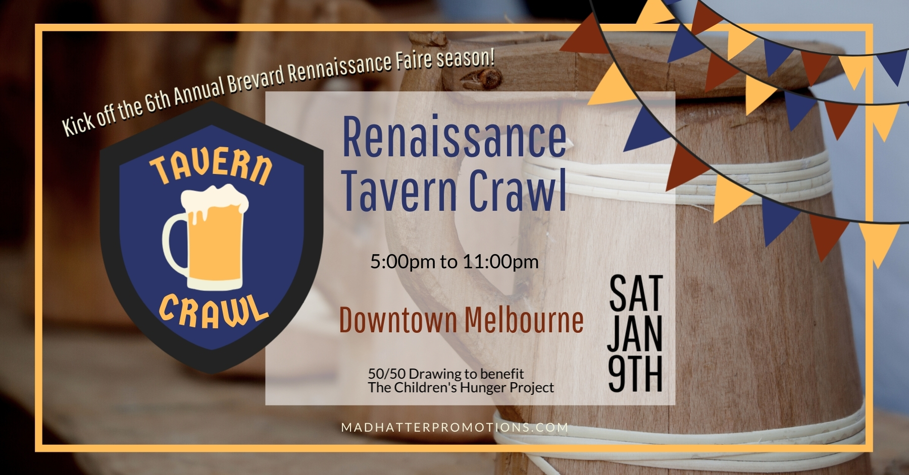 2021 Renaissance Tavern Crawl Downtown Melbourne Saturday January 9th